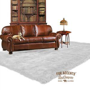 White Shag Faux Fur Area Rug, Rectangle, Faux Sheepskin Carpet, Bonded Suede