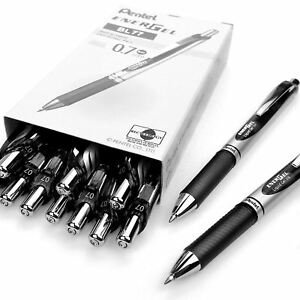 Pentel Energel XM Retractable Gel Pen with 0.7 mm Tip, Black, Pack of 12