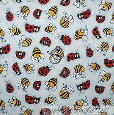 BonEful Fabric FQ Cotton Quilt Blue Black Red White B&W Bee Ladybug Stripe Dot S