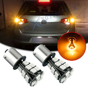 2x BAU15S 7507 LED Turn Signal Light Amber Canbus No Hyper Flash Error Free Bulb