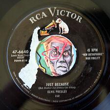 HEAR Elvis Presley 45 Just Because/Blue Moon RCA 47-6640 rockabilly rocker
