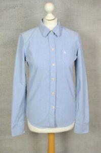 JACK WILLS Blue cotton preppy ladies' long sleeve shirt UK 10