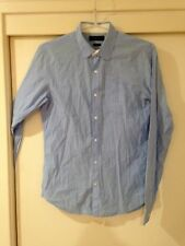 Country Road Men's Light Blue Striped Button Front Shirt Size S Slim Good Condt