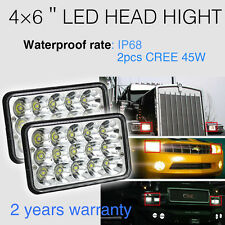 "4""x6"" LED Headlights CREE Chip  for GMC Van Kenworth Jeep Sealed Beam H4656"
