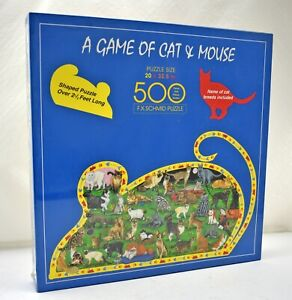 """F.X. Schmid A Game of Cat & Mouse Shaped Puzzle - 500 Pieces 20"""" x 32.5"""" New"""