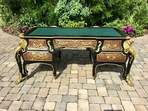VINTAGE ORNATE FRENCH LOUIS XIV BRASS FIGURES & INLAY DESK - GORGEOUS...