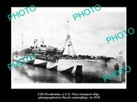 OLD POSTCARD SIZE PHOTO OF US NAVY WWI USS POCAHONTAS IN CAMOUFLAGE c1918