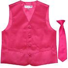 New Boy's Kid's formal Tuxedo Vest Waistcoat  Necktie hot pink US size 2-14