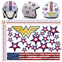 Adesivi casco stelle wonder woman sticker helmet stars u.s.a tuning 24 pz.