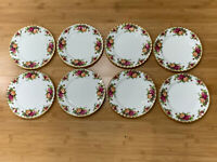 Vtg Royal Albert Porcelain Old Country Roses Pattern Set of 8 Luncheon Plates