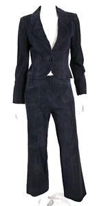 CHANEL 02C Indigo Blue Goatskin Suede Logo Button Flare Leg Pant Suit 38