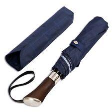 Balios® Blue Glen Plaid Rosewood Handle Travel Umbrella Single Canopy Luxury UK