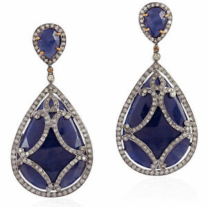 Natural  Pave Diamond Sterling Silver Blue Sapphire Dangle Earrings Gold SA