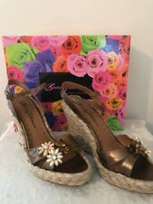 Authentic BEVERLY FELDMAN Bronze Wedge Sandals - Size 10 - NIB