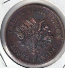 Monix Lower Canada LC-2A3 colonial token un sous bouquet BR713 F-VF CV$16