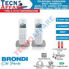 Telefono Cordless Comunicanti Duo Fisso Casa Brondi Gala Twin Bianco/Grigio