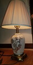 Beautiful Vintage Accurate Casting Co Pearl Glass w/Gold Floral Trim Table Lamp