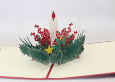 New Greeting Card Christmas Candlelight 3D Pop Up Holiday Seasonal gift card 75