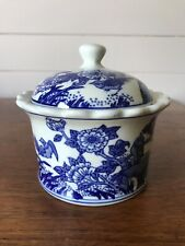 Vintage Chinese Lidded Blue and White Porcelain Bowl/Dish Stamped To Base