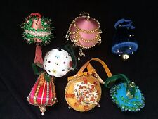 LOT of 6 Christmas Hand Made Ornaments Velvet Sequins Satin Ribbon BIG VINTAGE