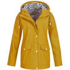Autumn Women Solid Rain Jacket Outdoor Plus Waterproof Hooded Raincoat Windproof