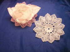"24 White corsage flower base plastic 3.5"" dia lace like"