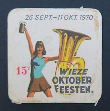 Ancien sous-bock bière WIEZE OKTOBER FEESTEN 1970 coaster Bierdeckel 10