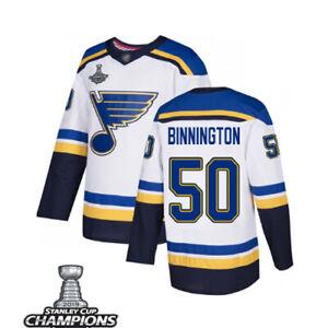 Mens St.Louis Blues #50 Jordan Binnington white Jersey Champions stitched