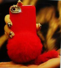 Cute Rabbit Fur Case for iPhone 5 5s Bling Bowknot Camera Hole Deco iPhone 5s