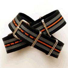 Black / Grey / Orange Stripe Nato / Nylon Watch Strap : 20mm (FL89)