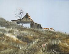 JOSEPH ORR PAINTING - KEEP OUT - BARN ON A HILLSIDE WITH SINGLE TREE
