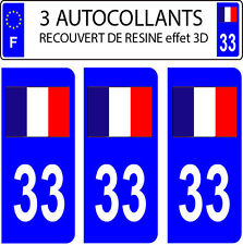 3 sticker plaque immatriculation auto DOMING 3D RESINE DRAPEAU FRANCAIS N° 33