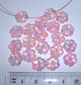 50 pink flower daisy 10mm faceted AB iridescent beads plastic acrylic flat