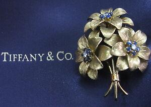 "Tiffany & Co Blue Sapphire Flower Brooch 18Kt Yellow Gold 2"""