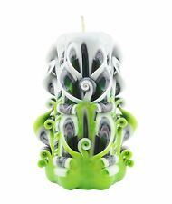Carved candles yellow green pink black and white Free shipping