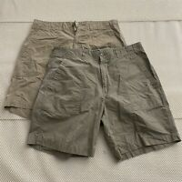"*LOT OF 2* Polo Ralph Lauren 34 x 8"" Beige / Khaki Flap Pocket Chino Shorts"