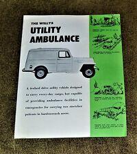 VTG 1950s ADV Willys Utility Ambulance Brochure Jeep N