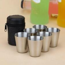 Silver Beer Wine Stainless Steel Cups Travel Outdoor Camping Cut Sets+Cover Case