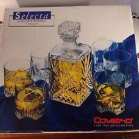 Covetro Selecta Whisky Decanter & Glasses 7 PCS Set Fine Italian Glassware NEW!
