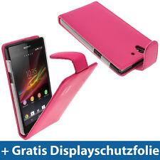 Pink Rosa Leder Tasche für Hülle Halter für Sony Xperia Z Android Smartphone