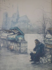 Scarce French Art by Henri Le Riche, Etching, Parisian Book Seller Signed 1900's