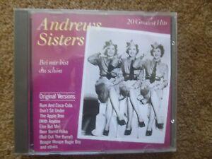 ANDREWS SISTERS - BEI MIR BIST DU SCHON - 20 GREATEST HITS - WAVE CD - VGC