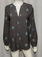 Ann Taylor Factory Womens Size Medium Long Sleeve Black Blue Green Floral Shirt