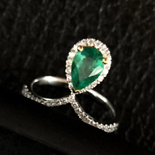 Solid 14K Gold Natural Pear Green Emerald Diamond Engagement Gemstone Lady Ring