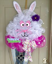 Easter deco mesh Wreath, Spring deco mesh Wreath, Easter bunny Wreath, Ribbon