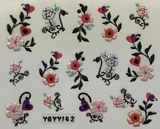 Nail Art 3D Decal Stickers Pearlescent Flowers Roses & Hearts YGYY142