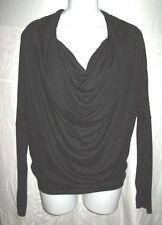 HELMUT LANG Black Draped Long Sleeve Jersey Top S $159
