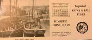 Vintage Advertising Calendar Card June 1957 China & Ball Clays Imported Domestic