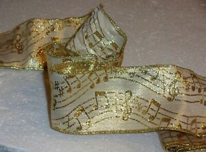 """MUSICAL NOTES White+Gold Metallic Organza WIRE EDGED Ribbon 1yd.+30"""" (66"""") x 2½"""""""