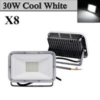 8X 30W LED Flood Light Cool White Arena Outdoor Garden Yard Spotlight IP67 NEW
